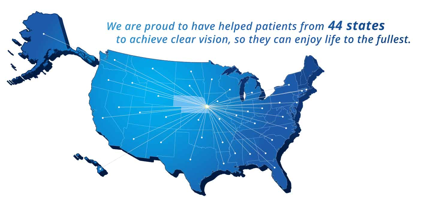 us map showing the 44 states kugler vision patients come from
