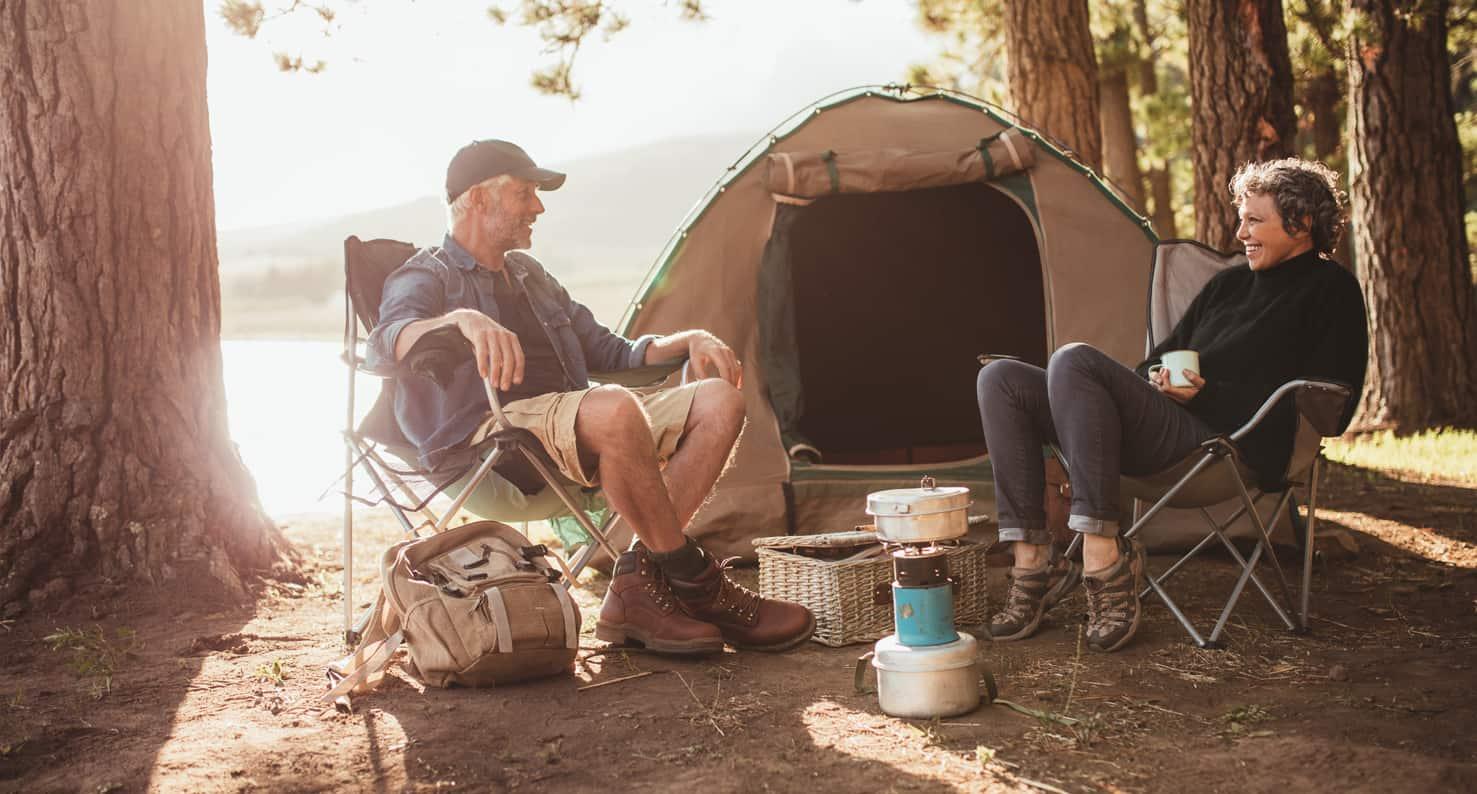 elderly couple camping