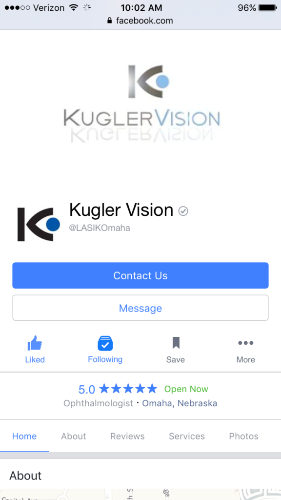 kugler vision facebook page on mobile