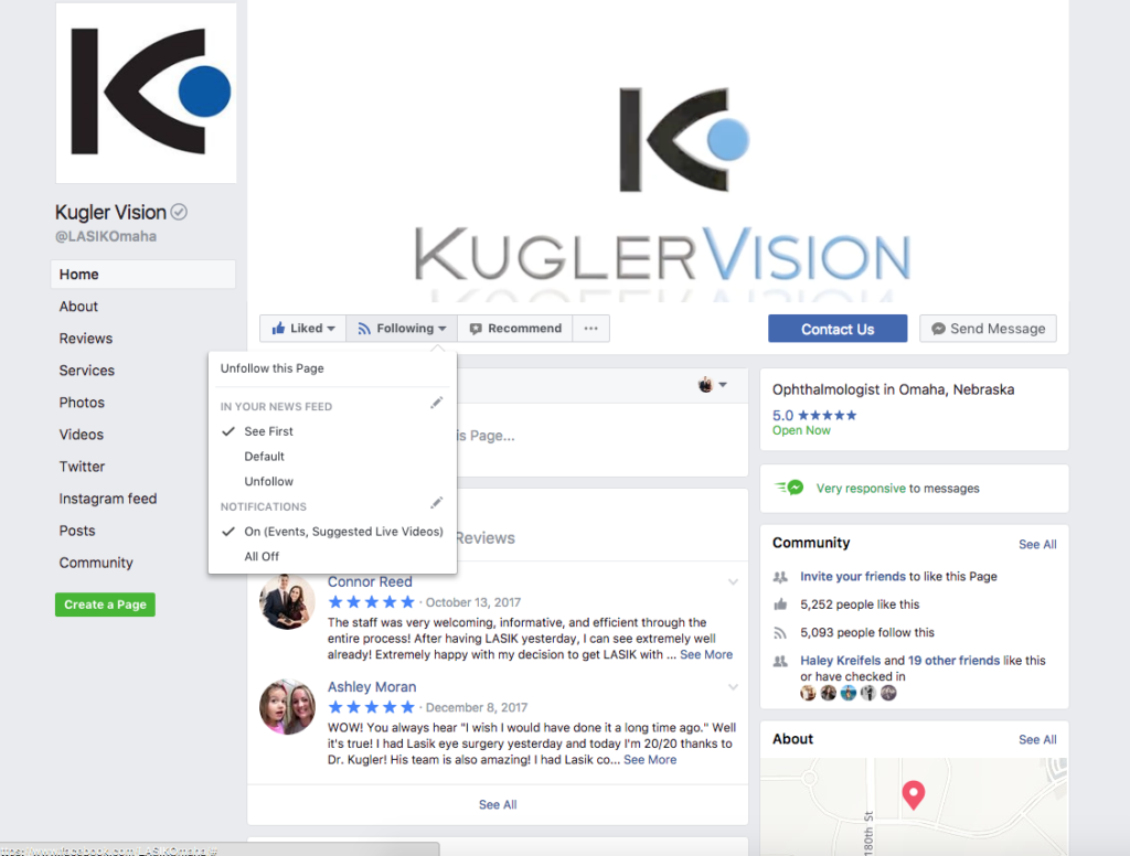 kugler vision facebook page see first