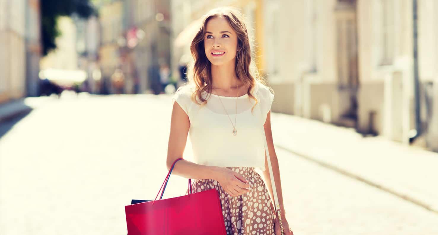 woman outside shopping
