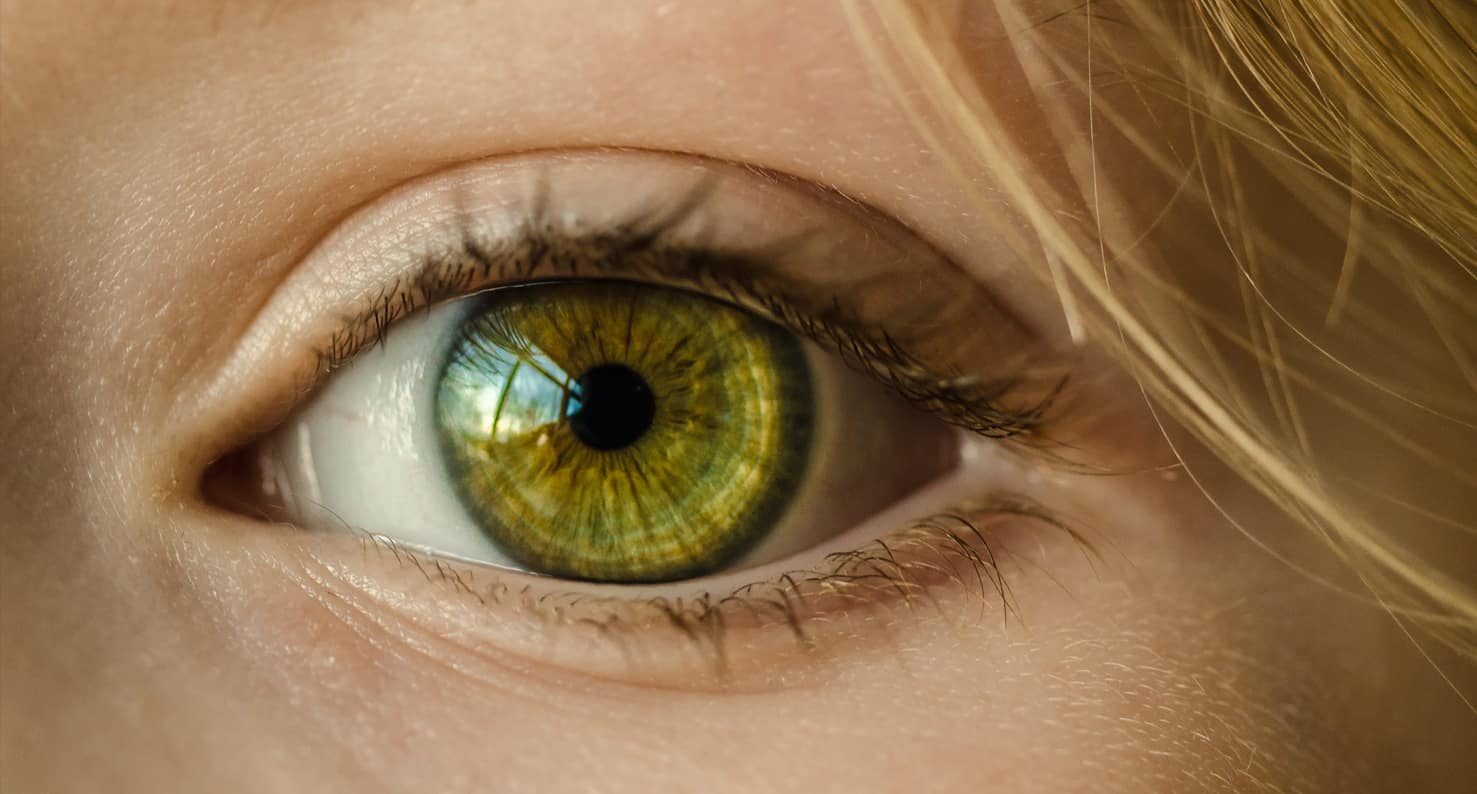 close up on green eye