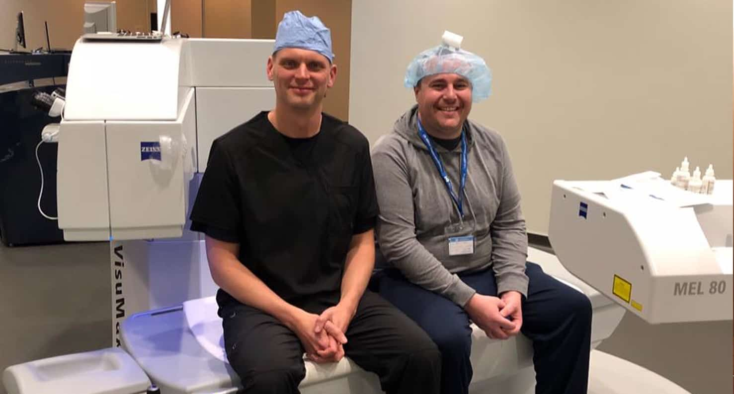 lance kugler, md with happy lasik omaha patient at kugler vision