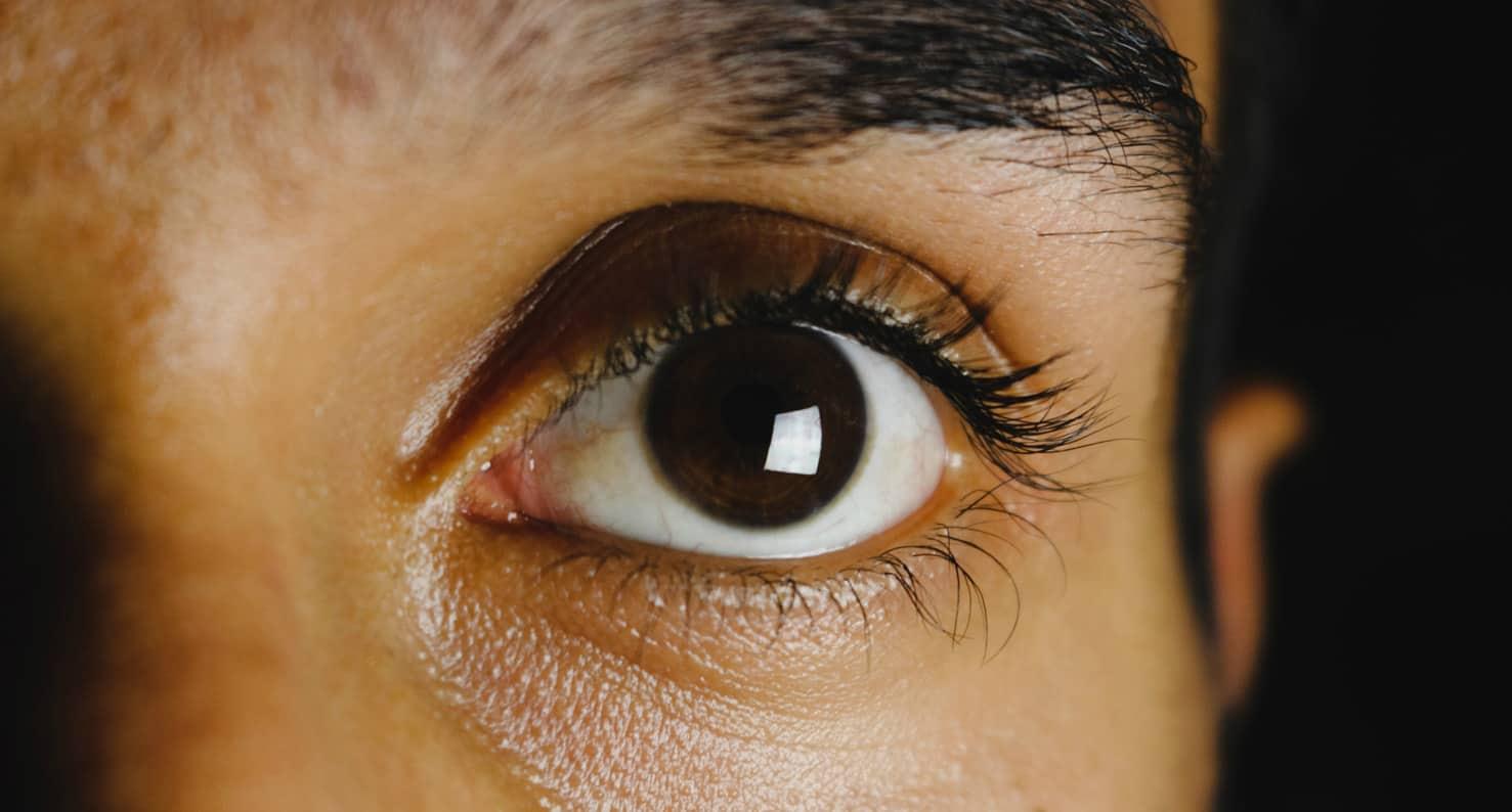 close up on brown eye