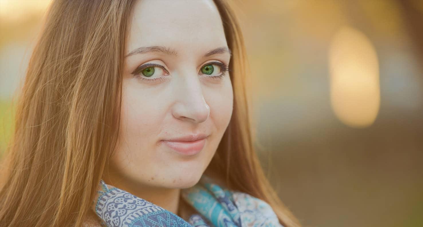 portrait of green eyed woman